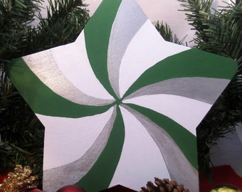 Wintergreen Twist Christmas Tree Topper -- wood painted green and silver swirl; 8 inch star