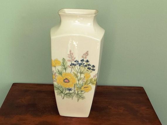 Lenox Porcelain Vase Yellow Poppies Gold Trim China Etsy