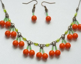 Wild Berry set earrings necklace handmade jewelry set necklace choker gift vintage berries flower leaves nature design forest fruit autumn