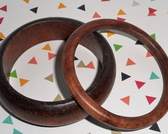 Wood Bracelet Bangle Set of 2 - Great Condition - Wear with almost anything