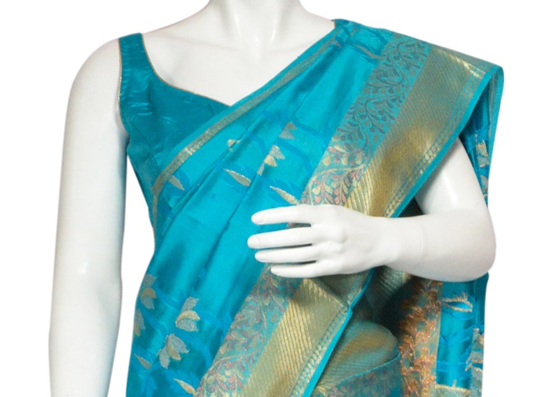 132a93a809cfdc Turquoise Banarasi Silk Saree in All over Floral Pattern and