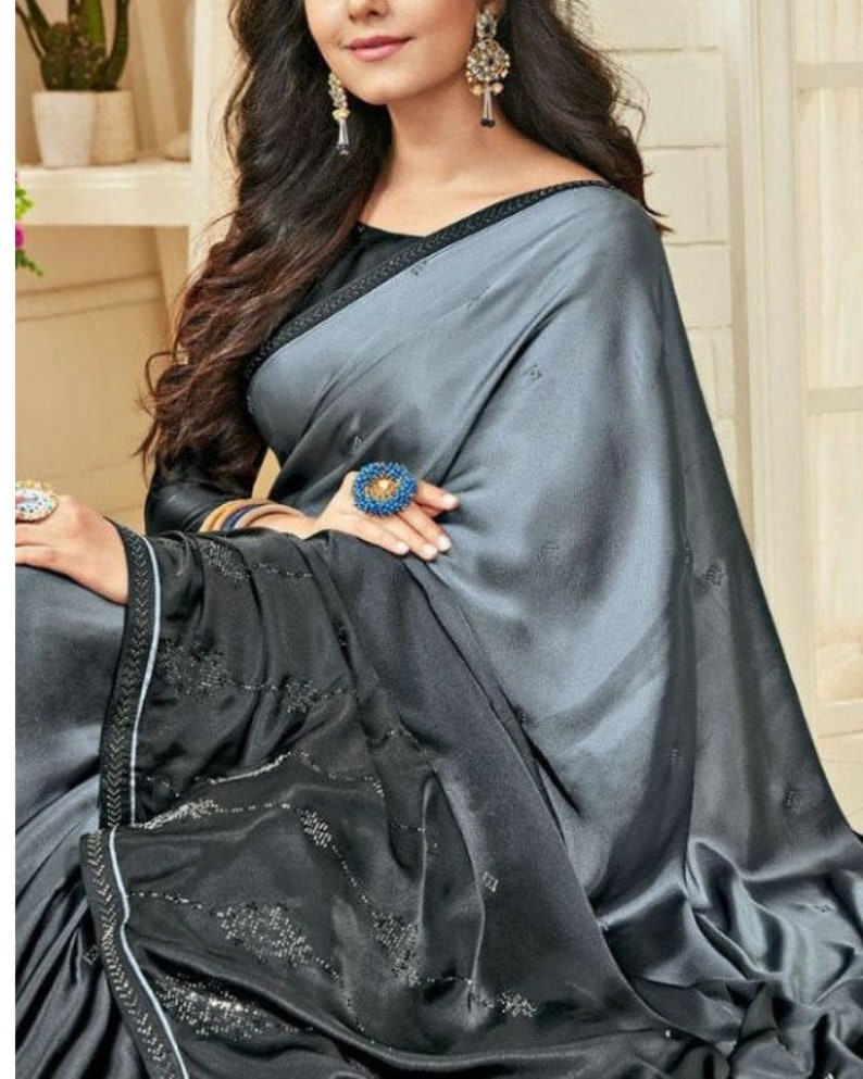Shaded Grey Black Satin Silk Printed Saree with Crystal Embellishment at Skirt