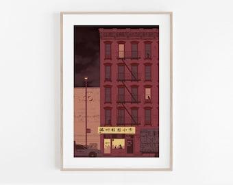 Lam Zhou Restaurant, 88 Lan Zhou, NYC Chinatown, modern print, wall decor, home decor, apartment wall art, minimalism, 100% profits donated
