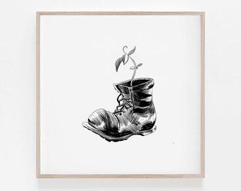 Wall-E Boot, Pixar, Life Finds a Way, Disney, Digital Art, Black and White, B&W, Minimalism, home decor, wall decor, 100% profits donated