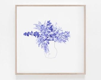 Flower Bouquet Ballpoint Pen Drawing, Tulip, Still Life, Blue, Digital Art, B&W, Minimalism, Wall decor, Home decor, 100% profits donated