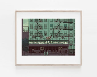 Congee Village, NYC Chinatown, modern print, wall decor, home decor, apartment wall art, minimalism, 100% profits donated