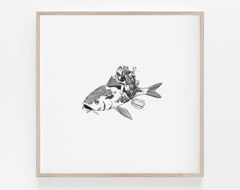 Your Lyft Driver is Here, Fish, Surreal, Diver suit, Moving Day, Digital Art, B&W, Minimalism, Wall decor, Home decor, 100% profits donated