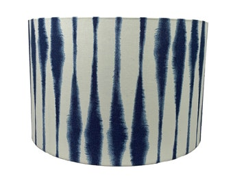 Blue Shibori Drum Lamp Shade, Boho Indigo Table Lampshade, Custom Blue and White Lamp Topper,  Coastal Home Decor, Modern Beach House Light