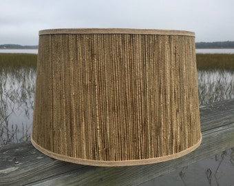 Seagrass lamp shade etsy modified custom drum lamp shade in seagrass with linen and burlap trim aloadofball Image collections