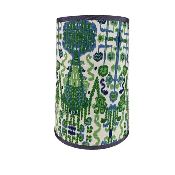 Tall Drum Lamp Shade Blue And Green, Blue And Green Lamp Shade