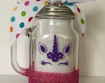 Glitter Unicorn Mason Jar Cup with Lid