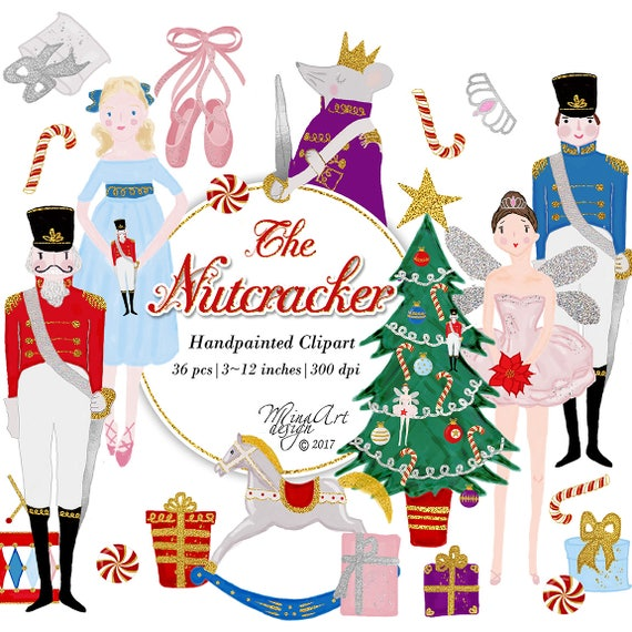 Christmas Illustrations.Nutcracker Clipart Watercolor Christmas Illustrations Glam Xmas Ballet Ballerina Sugarplum Fairy Candy Cane Rocking Horse Christmas Tree