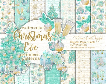 Christmas Paper Pack Pastel Watercolor Winter Digital Backgrounds Seamless Patterns Xmas Planner Stickers Glam Phone Wallpapers Gold Mint