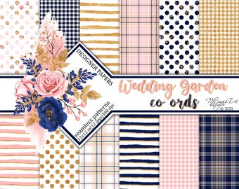 Wedding Flowers Digital Co Ord Papers Watercolor Seamless Patterns Romantic Planner Stickers Floral Backgrounds Lifestyle Blog Roses Basics