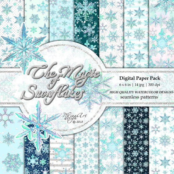 Aquarel Papier Van De Winter Pack Mint Sneeuwvlokken Pastel Etsy
