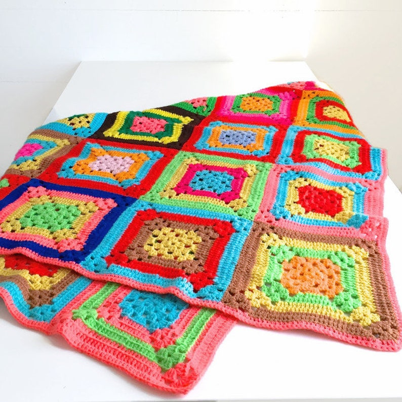Vintage Granny Square Blanket Colorful Afghan Bright Rainbow Etsy