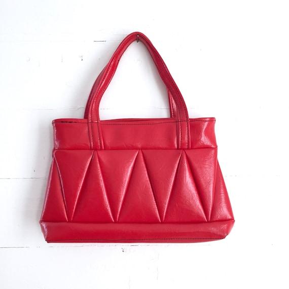 Vintage Red Vinyl Handbag Rockabilly Faux Leather Purse Tote