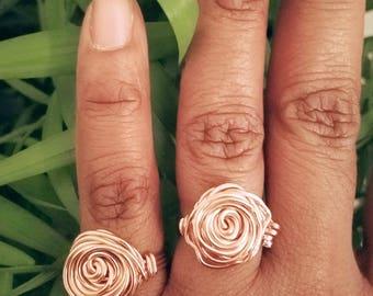 Rosie Ring. Rose Rings.  Wire wrapped Rings. Fun rings. Flower rings. Brass rings. Silver rings. Copper rings. Rose ring.