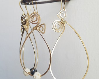 Paisley hoops. Small/Medium size. Funky hoops. Brass hoops. Sterling Silver hoops.