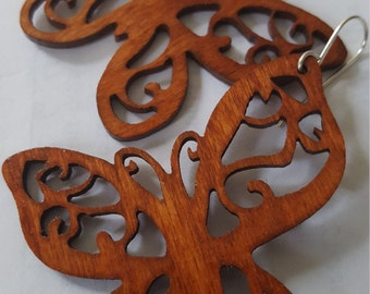 Monarch  butterfly . Wood butterfly earring stained honey with silver filled earwires. Butterfly earrings