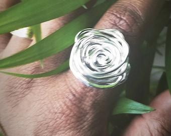 Rosie Ring. Sterling Silver Rose inspired ring. Rose rings.  Statement ring. Silver ring. Flower ring. Nature ring. Flower power ring.