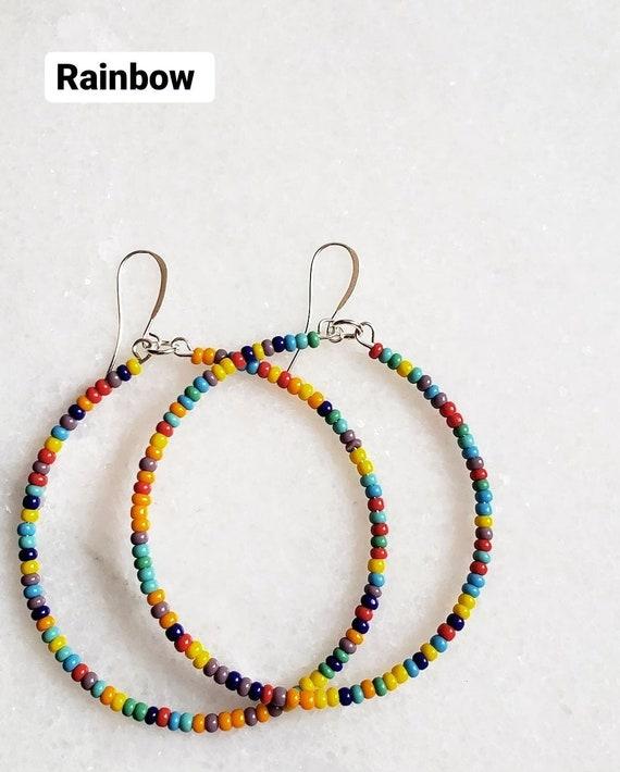Seed bead hoops. Beaded hoop earrings. Colorful beaded hoops. Afrobohemian hoops. Bohochic hoops