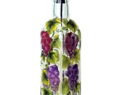 Hand Painted Glass Bottle Olive Oil Dispenser Grapes Blue Red Purple Hand Painted Glassware Hand Painted Oil Vinegar Soap Dispensers Green
