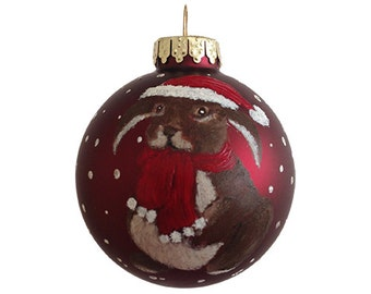 hand painted christmas ornament glass ball rabbit red brown scarf hat hand painted ornaments christmas ornaments animal custom personalized
