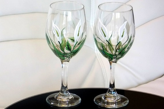 Hand Painted Wine Glass Calla Lily White Flowers Hand Painted Etsy