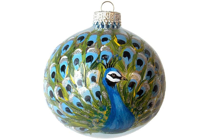 - Hand Painted Christmas Ornament Glass Ball Peacock Bird Hand Etsy