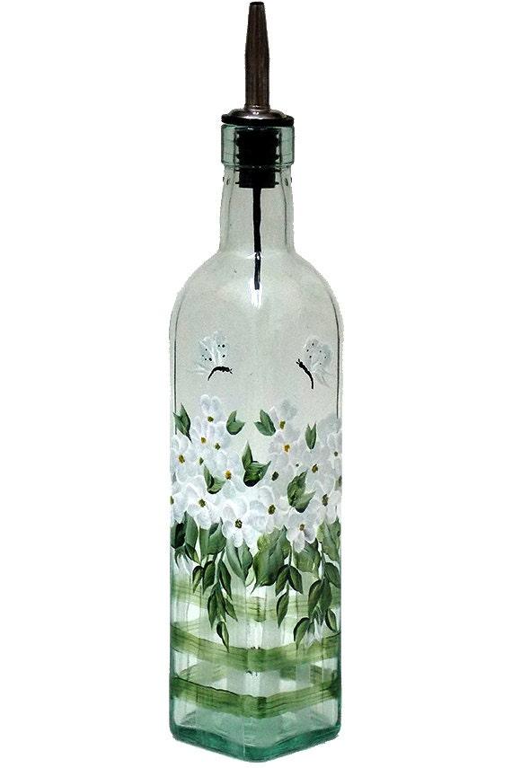 Hand painted glass bottle olive oil dispenser white flowers etsy image 0 request a custom order mightylinksfo