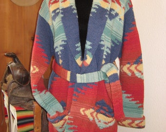 5b18ba442 Santa Fe RL Wrap Ralph Lauren SMALL Men s Unisex Medium Cardigan Sweater  Rio Grande Southwestern Hand Knit Wool Aztec Navajo Blanket Vintage