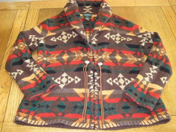 Ralph Lauren Cardigan Sweater AZTEC Southwestern W