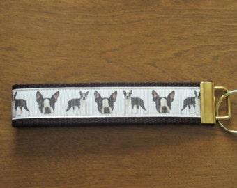 Boston Terrier wristlet key fob key chain zipper pull