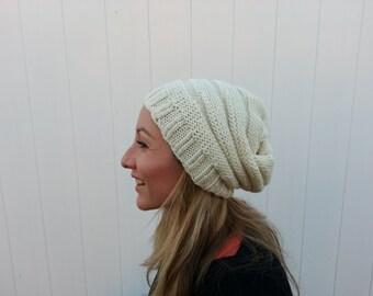 Free Shipping Women's Slouchy White Beanie Hat