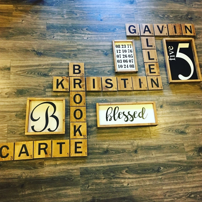 Large wood letter tiles! Wood wall art- Display family names in a beautiful  and playful way! Wood wall art  Letter tiles