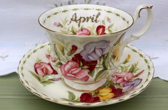 Vintage Royal Albert April Geburtstag Blumen Des Monats Tasse Etsy