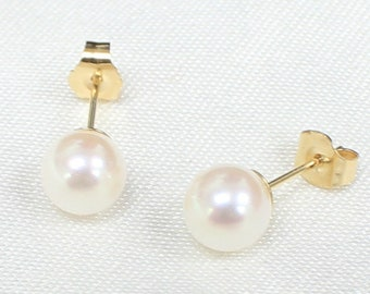 4b0d608a8 SUPER SALE AA+ Akoya Pearl Earrings Studs 6.5mm-7mm Japanese White Pearl  Stud Earrings 14K Yellow White Solid Gold Earrings