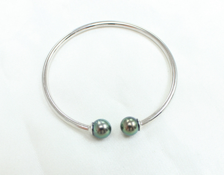 Bracelet ouvert en argent Sterling 925 perle perle perle de Tahiti de paon b68fcb