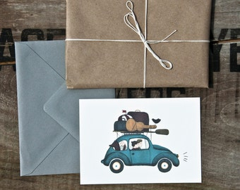 Road trip / traveling family postcard / adventures greeting card / family anniversary card / blue beetle car / travels