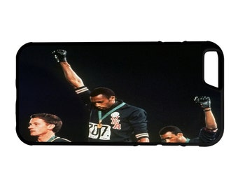 1968 Olympic Protest iPhone Galaxy Note LG HTC Protective Hybrid Rubber Hard Plastic Snap on Case Black
