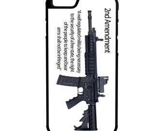 2nd Amendment AR15 Gun Rights  iPhone Galaxy Note LG G4 Protective Hybrid Rubber Hard Plastic Snap on Case Black