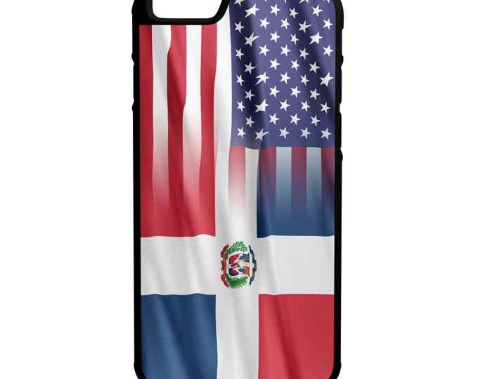 Dominican Republic American Flag iPhone Galaxy Note LG G4 Protective Rubber Phone Case
