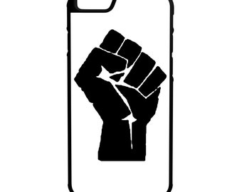 Raised Fist iPhone Galaxy Note LG HTC Protective Hybrid Rubber Hard Plastic Snap on Case white
