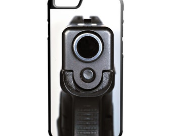 Semi Auto Hand Gun Barrel iPhone Galaxy Note LG HTC Protective Hybrid Rubber Hard Plastic Snap on Case Black