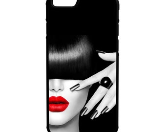 Fashion Red Lips iPhone Galaxy Note LG HTC Protective Hybrid Rubber Hard Plastic Snap on Case Black