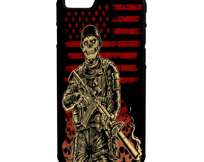 American Zombie Soldier iPhone Galaxy Note LG HTC Protective Hybrid Rubber Hard Plastic Snap on Case Black