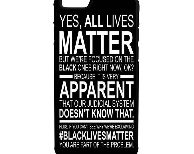 Yes All Lives Matter iPhone Galaxy Note LG HTC Protective Hybrid Rubber Hard Plastic Snap on Case Black Black Lives Matter