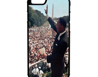 Dr Martin Luther King Color Photo iPhone Galaxy Note LG HTC Protective Hybrid Rubber Hard Plastic Snap on Case Black