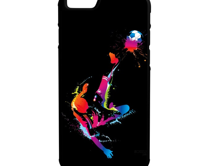 Soccer iPhone Galaxy Note LG HTC Protective Hybrid Rubber Hard Plastic Snap on Case Black
